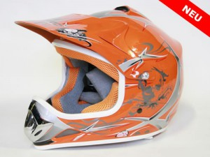 Kinder Helm Cross - Helm für Kinderquad Pocketbike - Orange