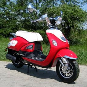 motorroller 50ccm retro roller mit 45 km h flash rot motorroller mofa. Black Bedroom Furniture Sets. Home Design Ideas