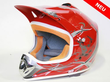 Kinder Helm Cross - Helm für Kinderquad Pocketbike - Rot