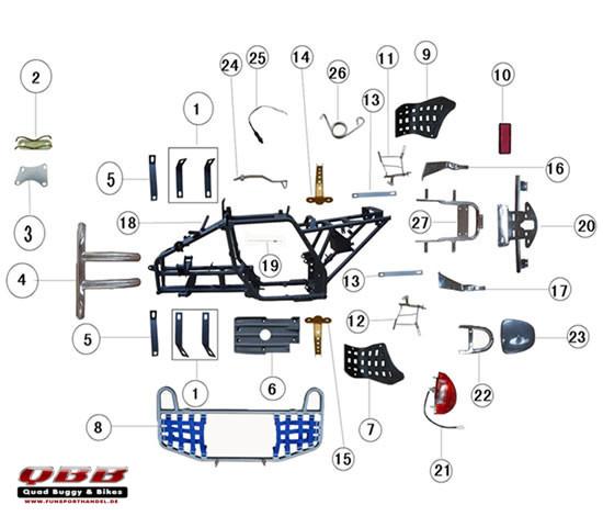 Jinling Racing Quad Rahmen Anbauteile