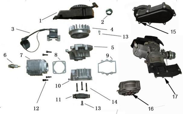 49ccm 2 Takt Motor Ersatzteile