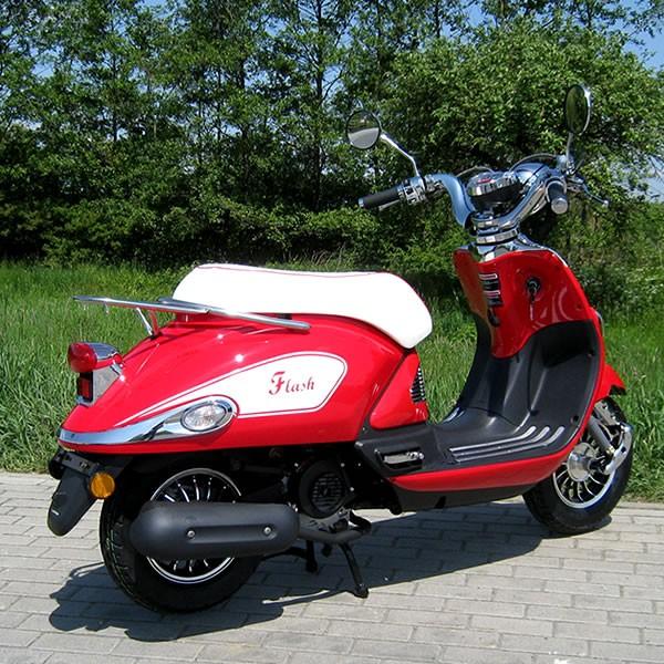 motorroller 50ccm retro roller mit 45 km h flash rot. Black Bedroom Furniture Sets. Home Design Ideas